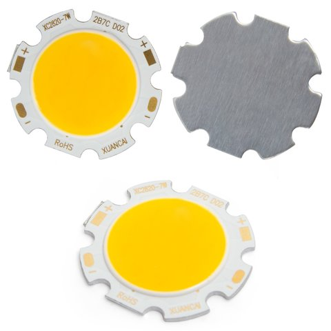 COB LED Chip 7 W warm white, 650 lm, 28 mm, 300 mA, 21 23 V